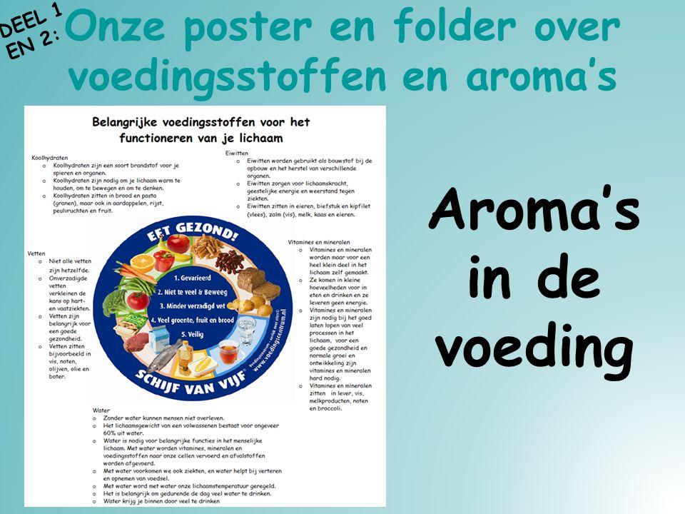 Onze poster en folder over voedingsstoffen en aroma's Aroma's in de voeding DEEL 1 EN 2: