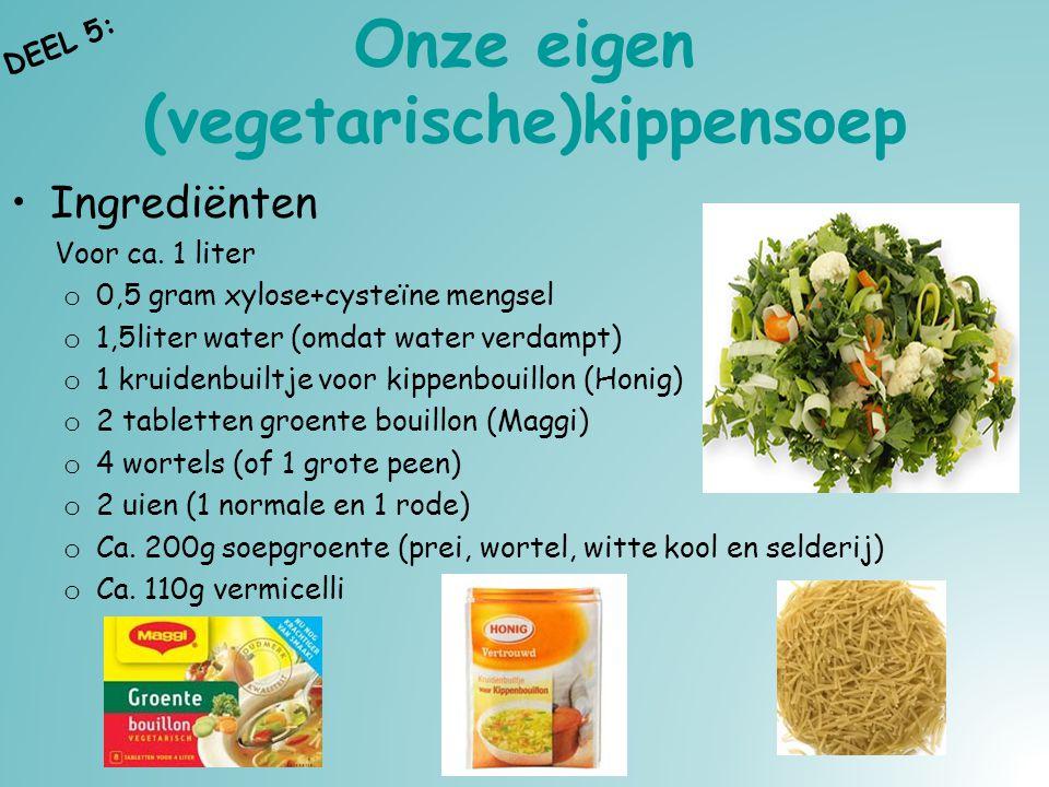 Onze eigen (vegetarische)kippensoep Ingrediënten Voor ca. 1 liter o 0,5 gram xylose+cysteïne mengsel o 1,5liter water (omdat water verdampt) o 1 kruid