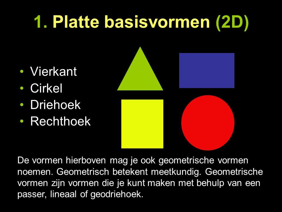 1. Platte basisvormen (2D) Vierkant Cirkel Driehoek Rechthoek De vormen hierboven mag je ook geometrische vormen noemen. Geometrisch betekent meetkund