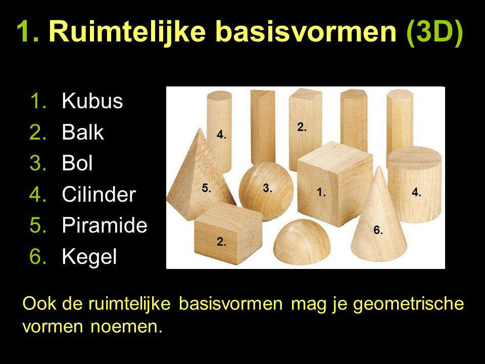 1. Ruimtelijke basisvormen (3D) 1.Kubus 2.Balk 3.Bol 4.Cilinder 5.Piramide 6.Kegel Ook de ruimtelijke basisvormen mag je geometrische vormen noemen. 1