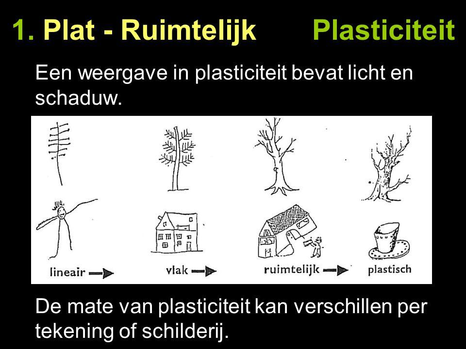 1. Plat - Ruimtelijk Plasticiteit Een weergave in plasticiteit bevat licht en schaduw. De mate van plasticiteit kan verschillen per tekening of schild