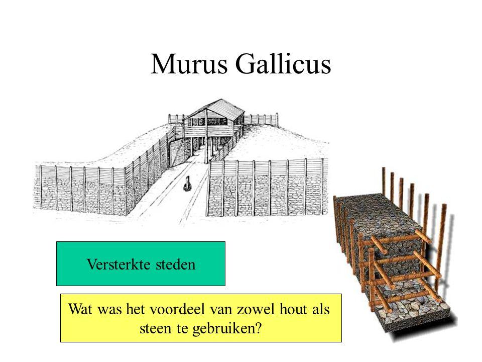 Murus Gallicus Versterkte steden Wat was het voordeel van zowel hout als steen te gebruiken?
