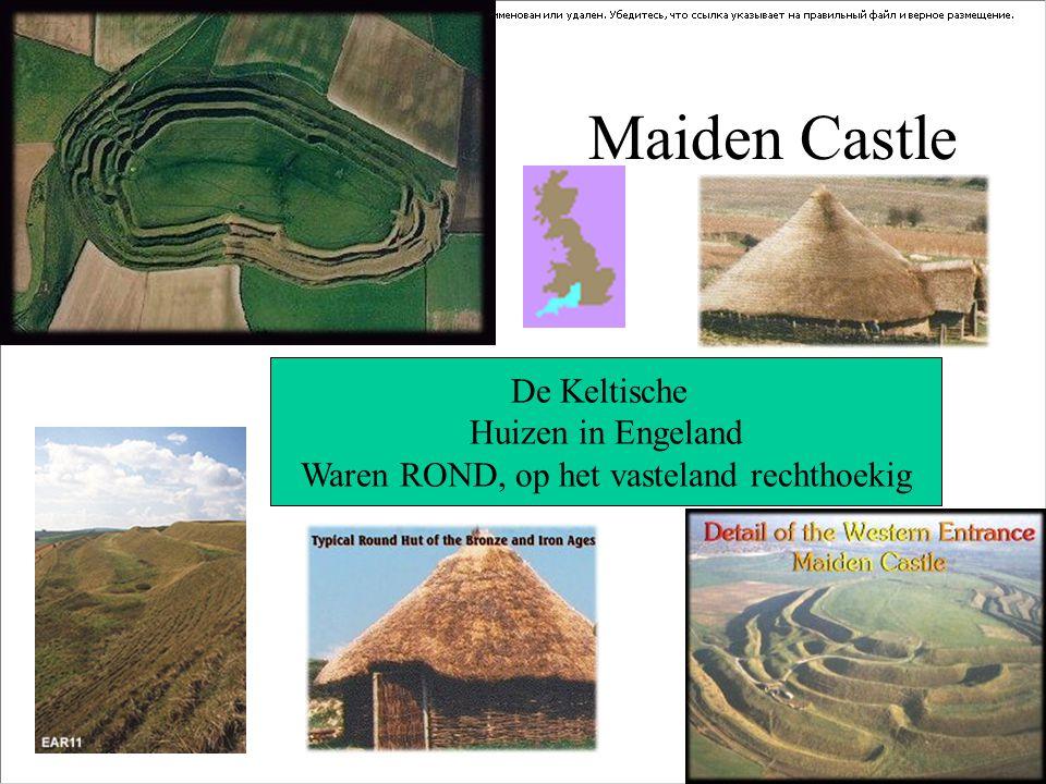 Maiden Castle De Keltische Huizen in Engeland Waren ROND, op het vasteland rechthoekig
