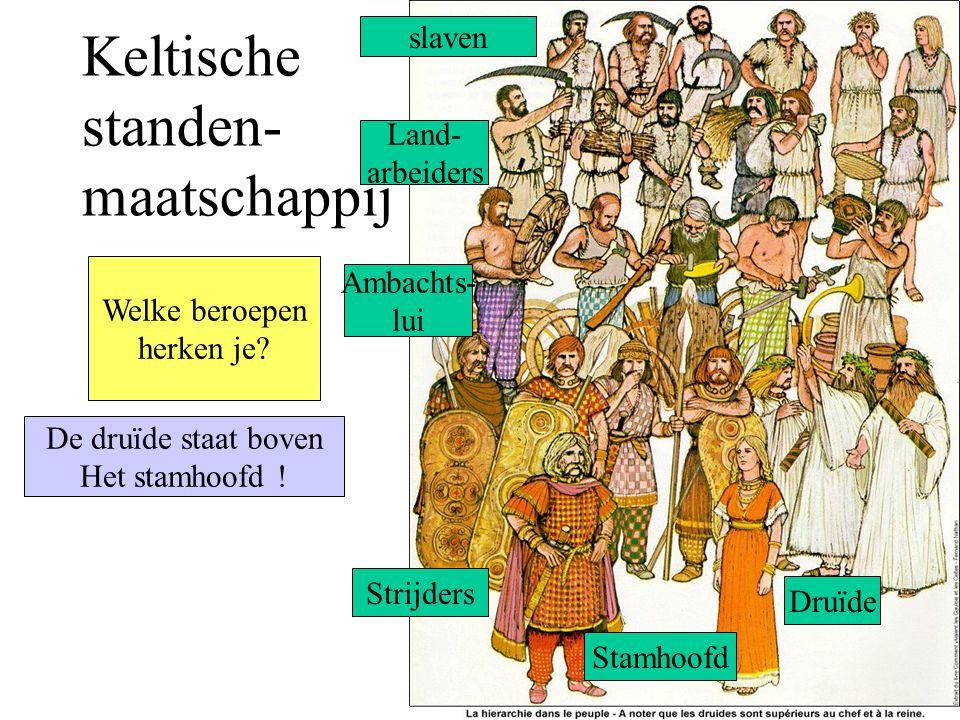 Keltische standen- maatschappij slaven Land- arbeiders Ambachts- lui Strijders Stamhoofd Druïde De druïde staat boven Het stamhoofd .