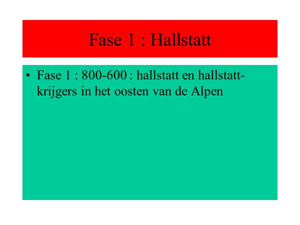 Fase 1 : Hallstatt Fase 1 : 800-600 : hallstatt en hallstatt- krijgers in het oosten van de Alpen