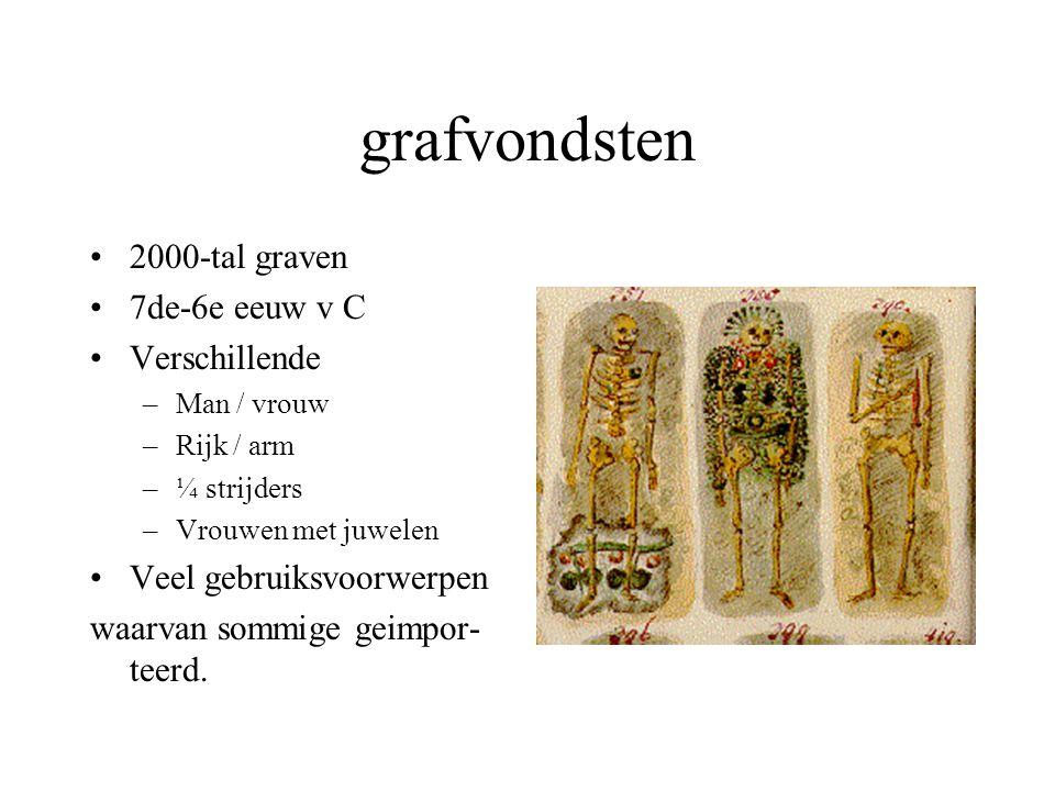 grafvondsten 2000-tal graven 7de-6e eeuw v C Verschillende –Man / vrouw –Rijk / arm –¼ strijders –Vrouwen met juwelen Veel gebruiksvoorwerpen waarvan sommige geimpor- teerd.