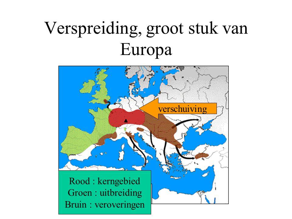 Verspreiding, groot stuk van Europa Rood : kerngebied Groen : uitbreiding Bruin : veroveringen verschuiving
