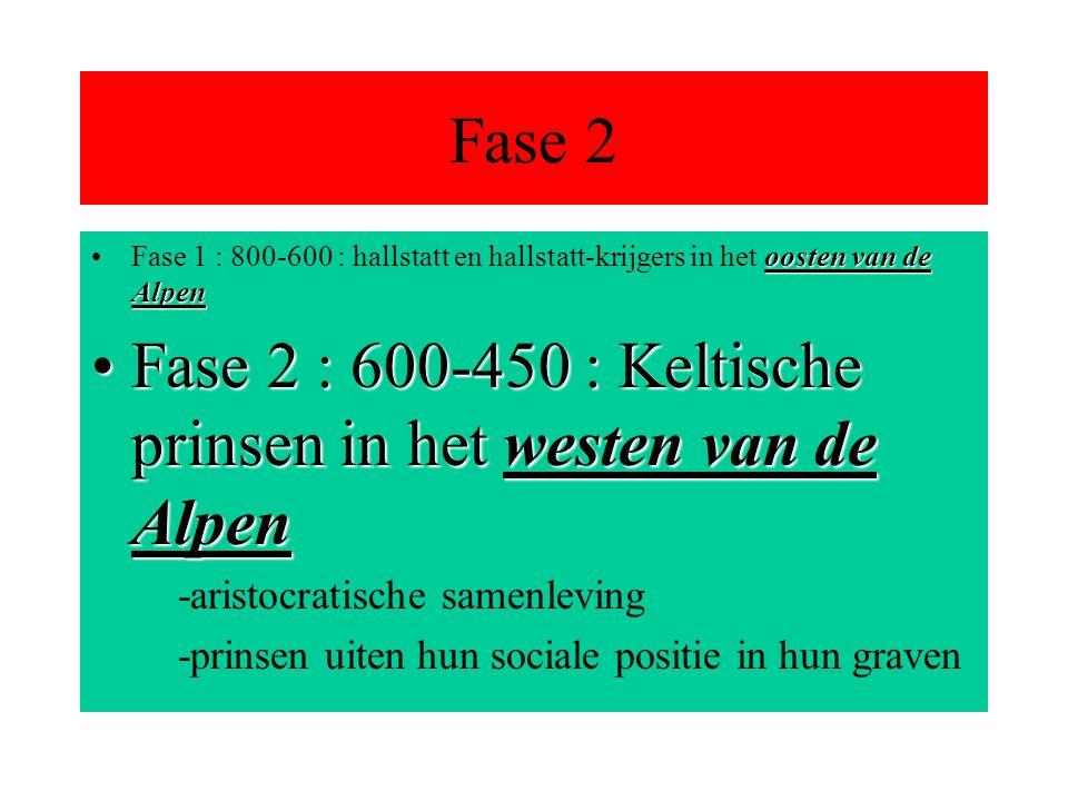 Fase 2 oosten van de AlpenFase 1 : 800-600 : hallstatt en hallstatt-krijgers in het oosten van de Alpen Fase 2 : 600-450 : Keltische prinsen in het westen van de AlpenFase 2 : 600-450 : Keltische prinsen in het westen van de Alpen -aristocratische samenleving -prinsen uiten hun sociale positie in hun graven