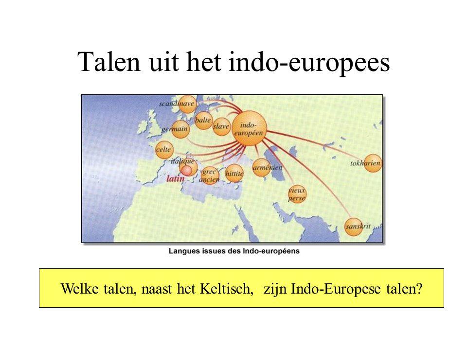 Talen uit het indo-europees Welke talen, naast het Keltisch, zijn Indo-Europese talen?
