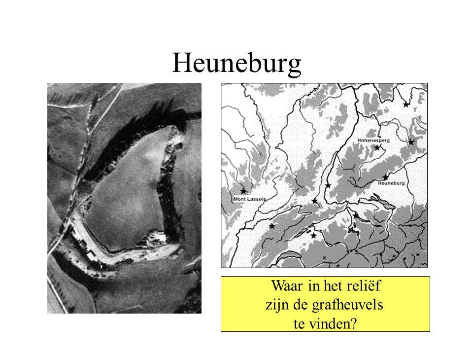 Heuneburg Waar in het reliëf zijn de grafheuvels te vinden?