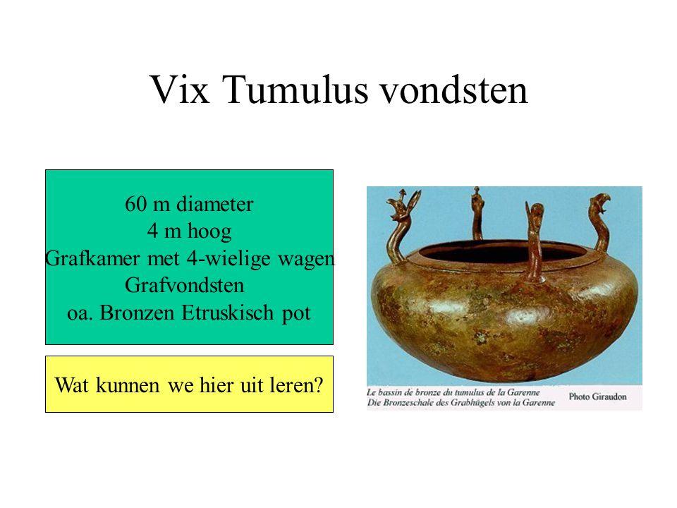 Vix Tumulus vondsten 60 m diameter 4 m hoog Grafkamer met 4-wielige wagen Grafvondsten oa.