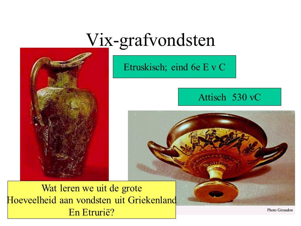Vix-grafvondsten Etruskisch; eind 6e E v C Attisch 530 vC Wat leren we uit de grote Hoeveelheid aan vondsten uit Griekenland En Etrurië?