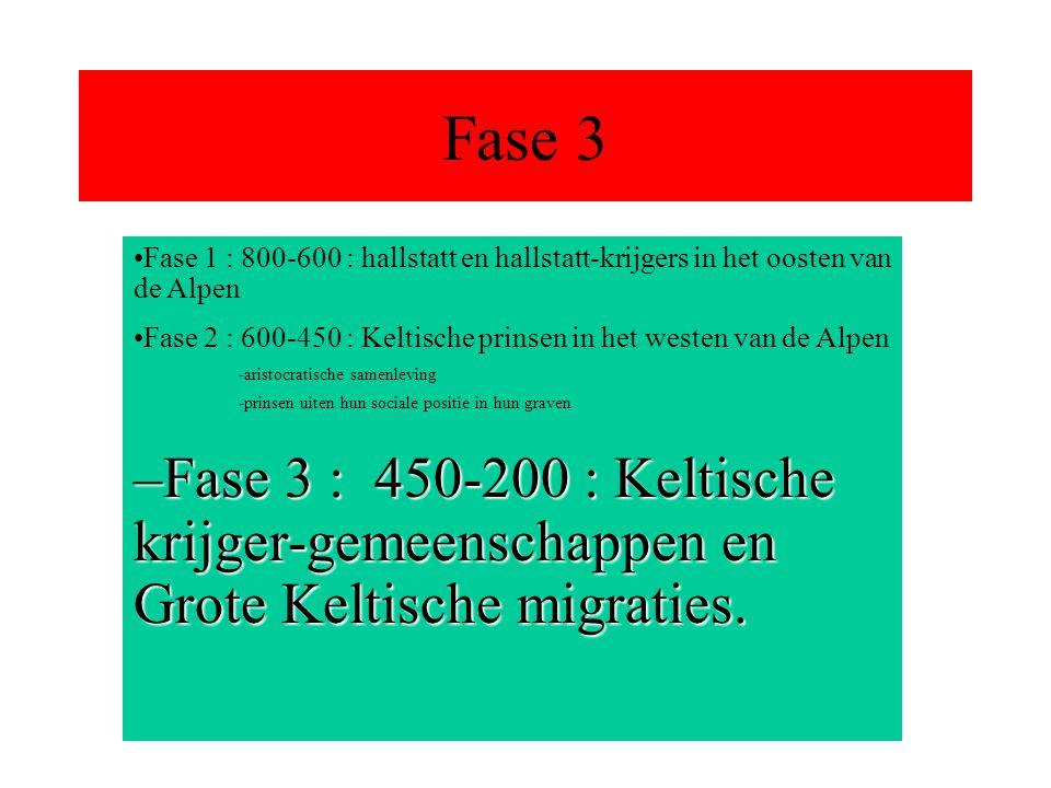 Fase 3 Fase 1 : 800-600 : hallstatt en hallstatt-krijgers in het oosten van de Alpen Fase 2 : 600-450 : Keltische prinsen in het westen van de Alpen -aristocratische samenleving -prinsen uiten hun sociale positie in hun graven –Fase 3 : 450-200 : Keltische krijger-gemeenschappen en Grote Keltische migraties.