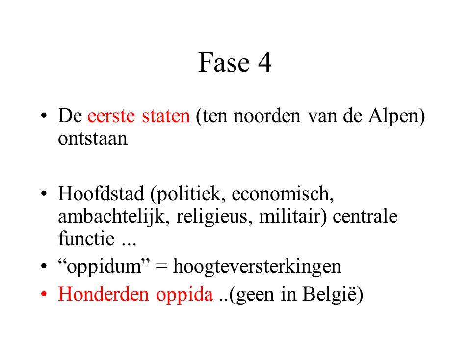 Fase 4 De eerste staten (ten noorden van de Alpen) ontstaan Hoofdstad (politiek, economisch, ambachtelijk, religieus, militair) centrale functie...