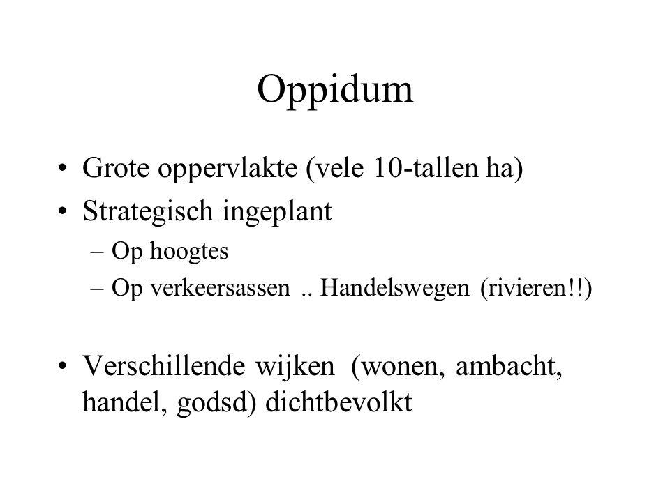 Oppidum Grote oppervlakte (vele 10-tallen ha) Strategisch ingeplant –Op hoogtes –Op verkeersassen..