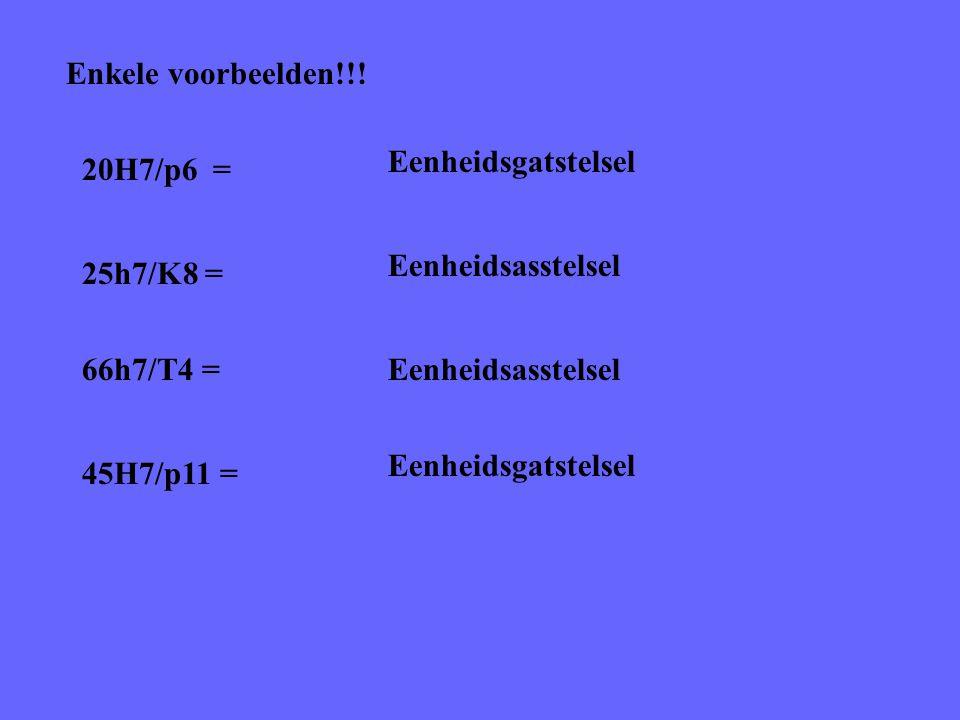 Enkele voorbeelden!!! 20H7/p6 = Eenheidsgatstelsel 25h7/K8 = Eenheidsasstelsel 66h7/T4 =Eenheidsasstelsel 45H7/p11 = Eenheidsgatstelsel