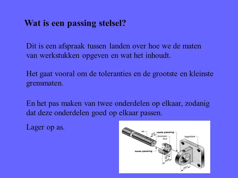 Wat is een passing stelsel? Dit is een afspraak tussen landen over hoe we de maten van werkstukken opgeven en wat het inhoudt. Het gaat vooral om de t