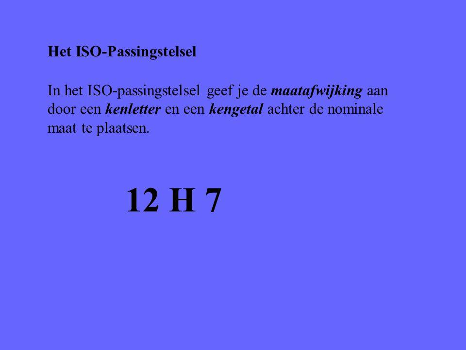 Het ISO-Passingstelsel In het ISO-passingstelsel geef je de maatafwijking aan door een kenletter en een kengetal achter de nominale maat te plaatsen.