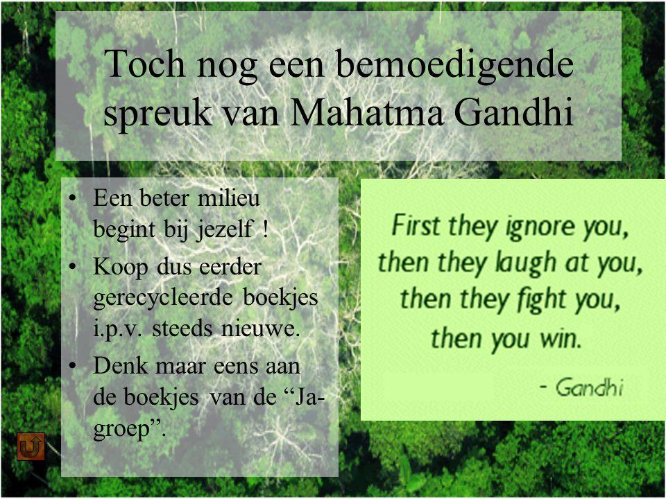 Toch nog een bemoedigende spreuk van Mahatma Gandhi Een beter milieu begint bij jezelf .