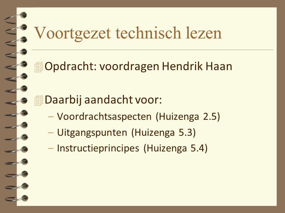 Voortgezet technisch lezen 4 Opdracht: voordragen Hendrik Haan 4 Daarbij aandacht voor: –Voordrachtsaspecten (Huizenga 2.5) –Uitgangspunten (Huizenga