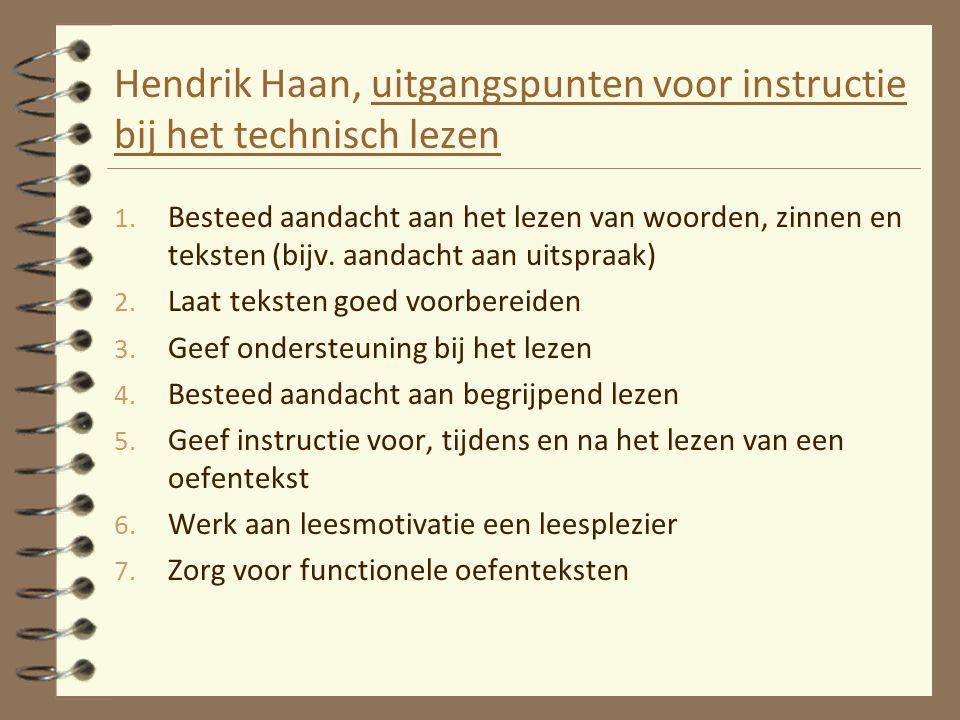 Hendrik Haan, uitgangspunten voor instructie bij het technisch lezen 1. Besteed aandacht aan het lezen van woorden, zinnen en teksten (bijv. aandacht