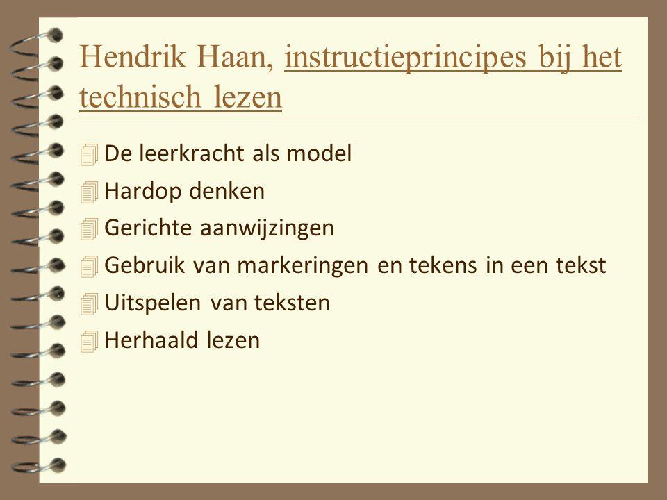 Hendrik Haan, instructieprincipes bij het technisch lezen 4 De leerkracht als model 4 Hardop denken 4 Gerichte aanwijzingen 4 Gebruik van markeringen