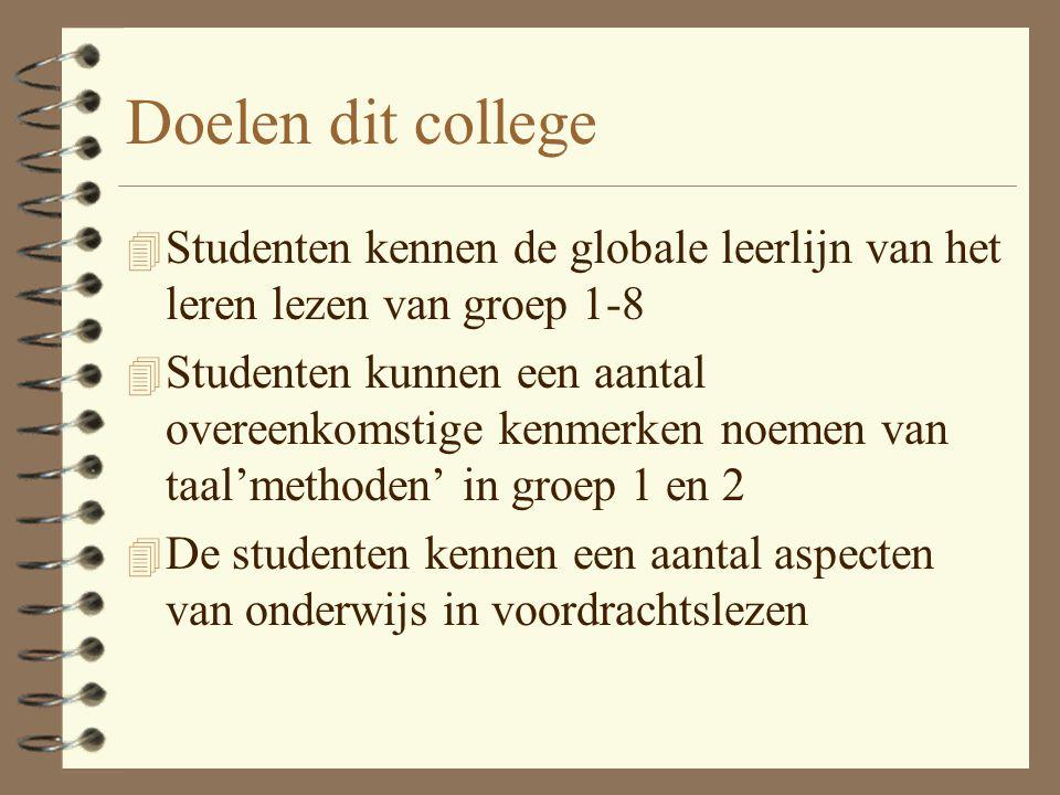 Doelen dit college 4 Studenten kennen de globale leerlijn van het leren lezen van groep 1-8 4 Studenten kunnen een aantal overeenkomstige kenmerken no