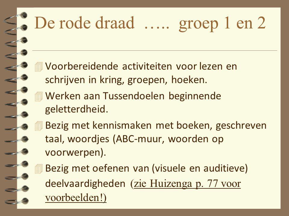 De rode draad ….. groep 1 en 2 4 Voorbereidende activiteiten voor lezen en schrijven in kring, groepen, hoeken. 4 Werken aan Tussendoelen beginnende g