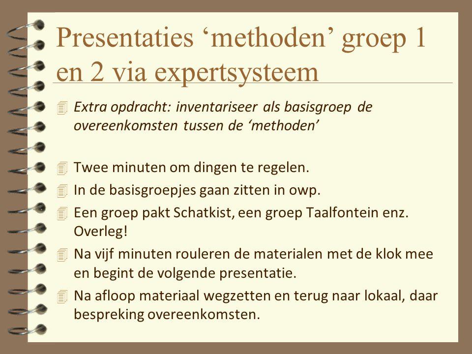 Presentaties 'methoden' groep 1 en 2 via expertsysteem 4 Extra opdracht: inventariseer als basisgroep de overeenkomsten tussen de 'methoden' 4 Twee mi