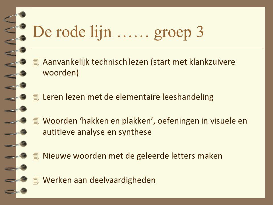 De rode lijn …… groep 3 4 Aanvankelijk technisch lezen (start met klankzuivere woorden) 4 Leren lezen met de elementaire leeshandeling 4 Woorden 'hakk