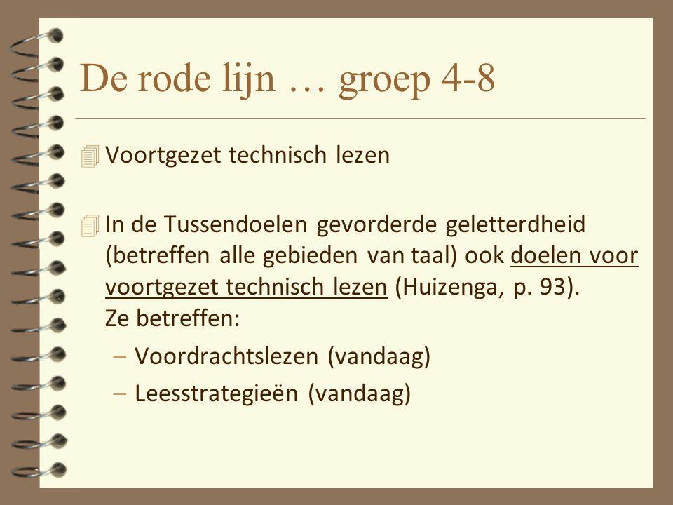De rode lijn … groep 4-8 4 Voortgezet technisch lezen 4 In de Tussendoelen gevorderde geletterdheid (betreffen alle gebieden van taal) ook doelen voor