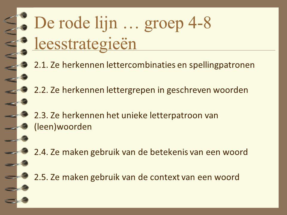 De rode lijn … groep 4-8 leesstrategieën 2.1. Ze herkennen lettercombinaties en spellingpatronen 2.2. Ze herkennen lettergrepen in geschreven woorden