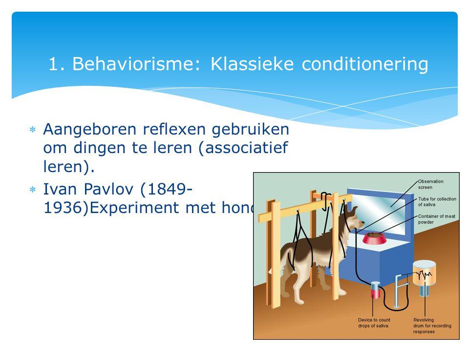 1. Behaviorisme: Klassieke conditionering Aangeboren reflexen gebruiken om dingen te leren (associatief leren). Ivan Pavlov (1849- 1936)Experiment m