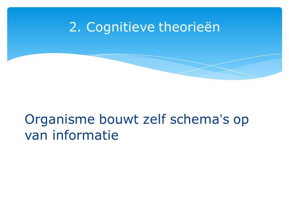 2. Cognitieve theorieën Organisme bouwt zelf schema's op van informatie