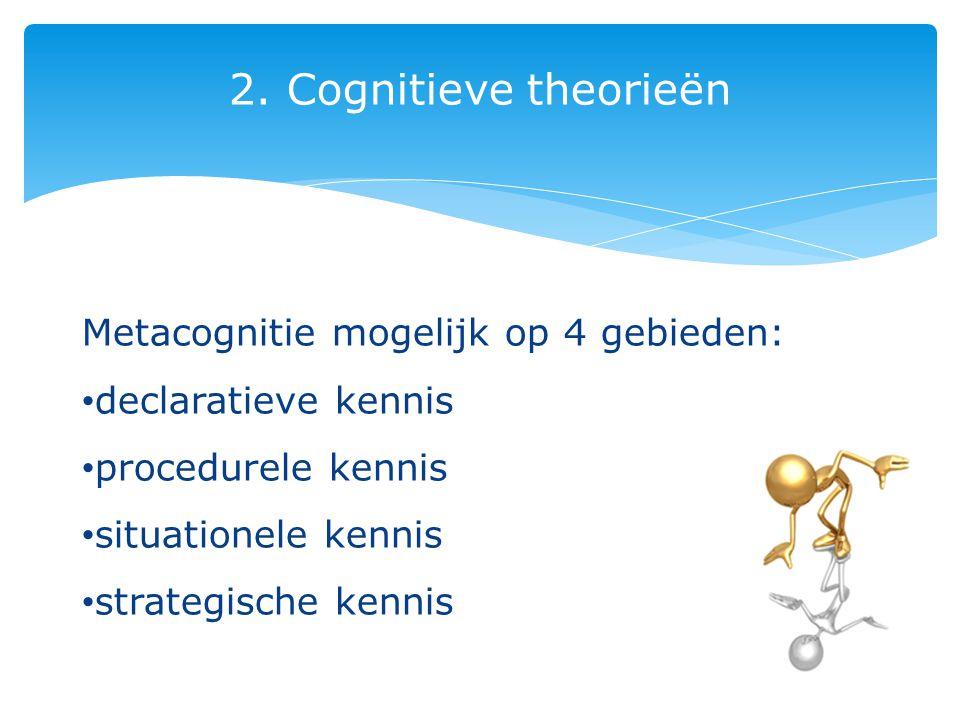 2. Cognitieve theorieën Metacognitie mogelijk op 4 gebieden: declaratieve kennis procedurele kennis situationele kennis strategische kennis