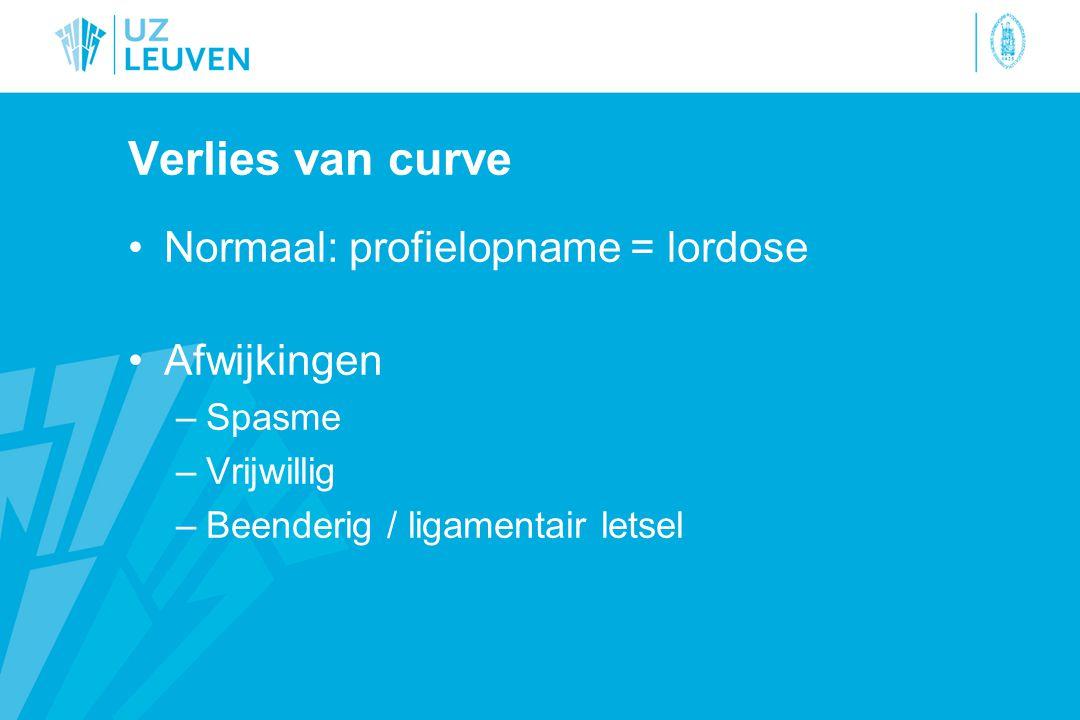 Verlies van curve Normaal: profielopname = lordose Afwijkingen –Spasme –Vrijwillig –Beenderig / ligamentair letsel