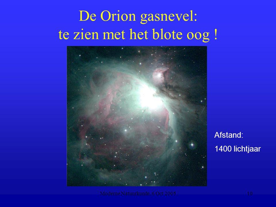 Moderne Natuurkunde, 6 Oct 200510 De Orion gasnevel: te zien met het blote oog ! Afstand: 1400 lichtjaar