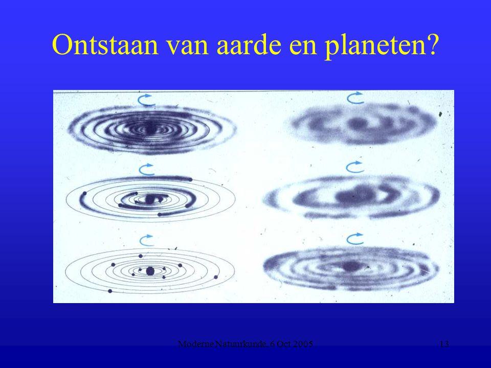 Moderne Natuurkunde, 6 Oct 200513 Ontstaan van aarde en planeten?