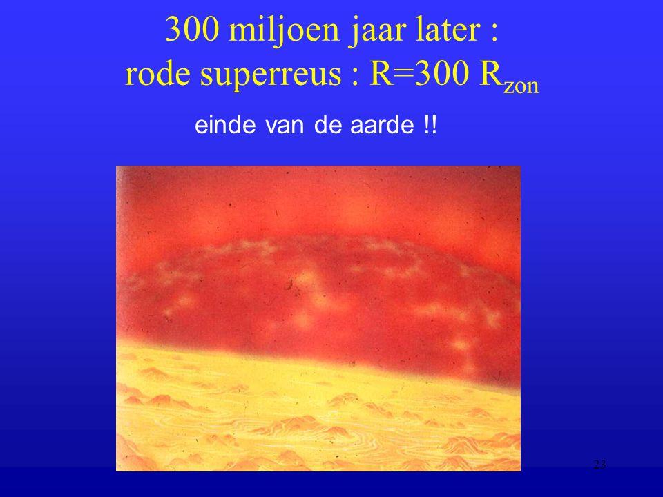 Moderne Natuurkunde, 6 Oct 200523 300 miljoen jaar later : rode superreus : R=300 R zon einde van de aarde !!