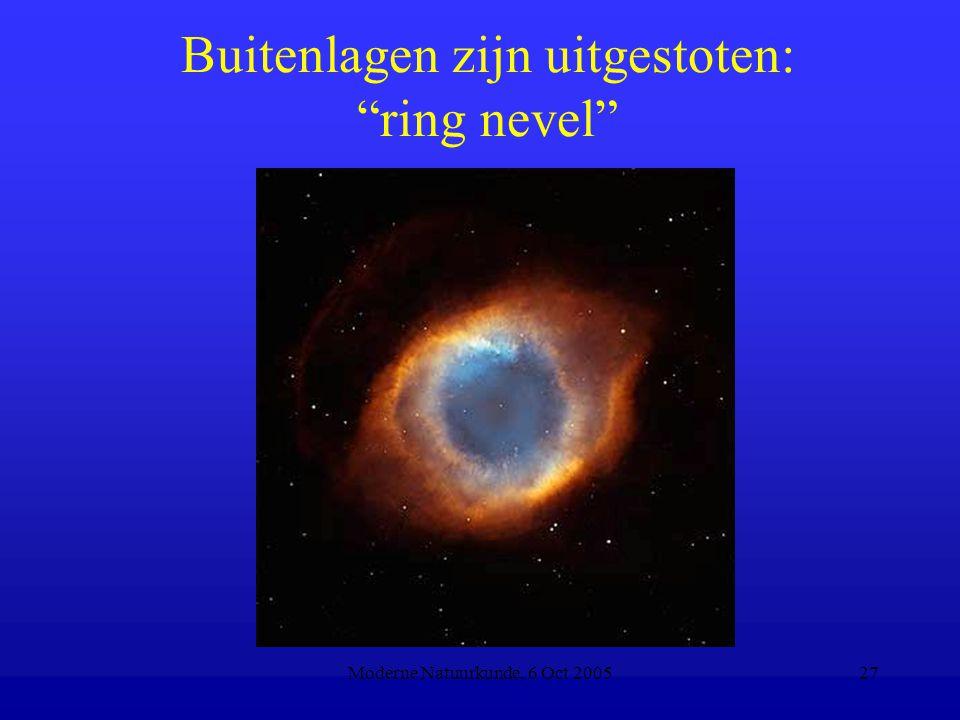 """Moderne Natuurkunde, 6 Oct 200527 Buitenlagen zijn uitgestoten: """"ring nevel"""""""