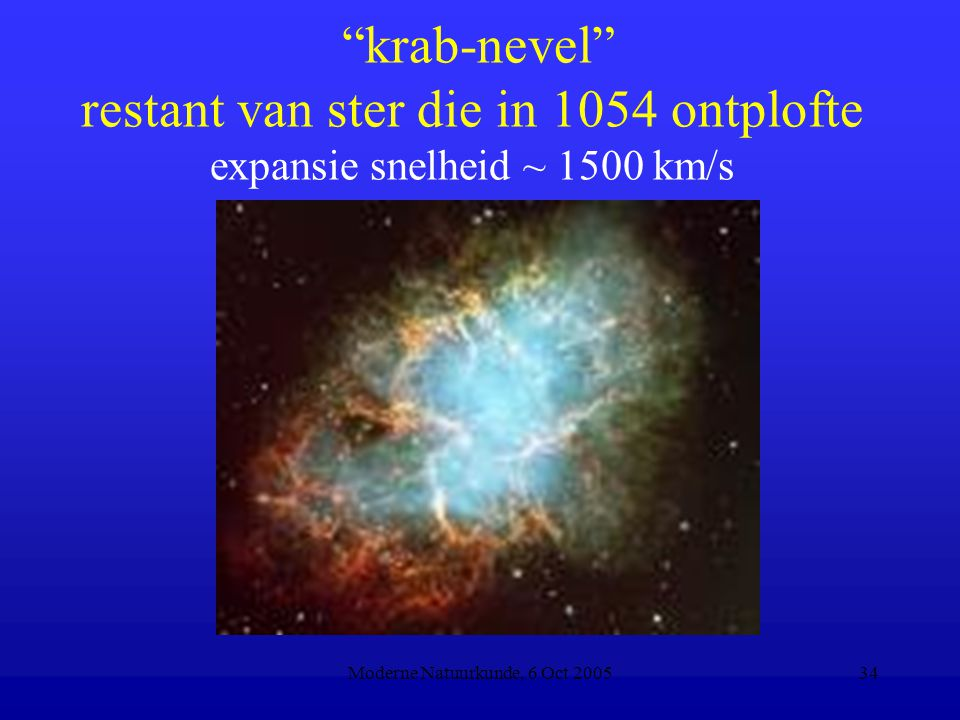 "Moderne Natuurkunde, 6 Oct 200534 ""krab-nevel"" restant van ster die in 1054 ontplofte expansie snelheid ~ 1500 km/s"