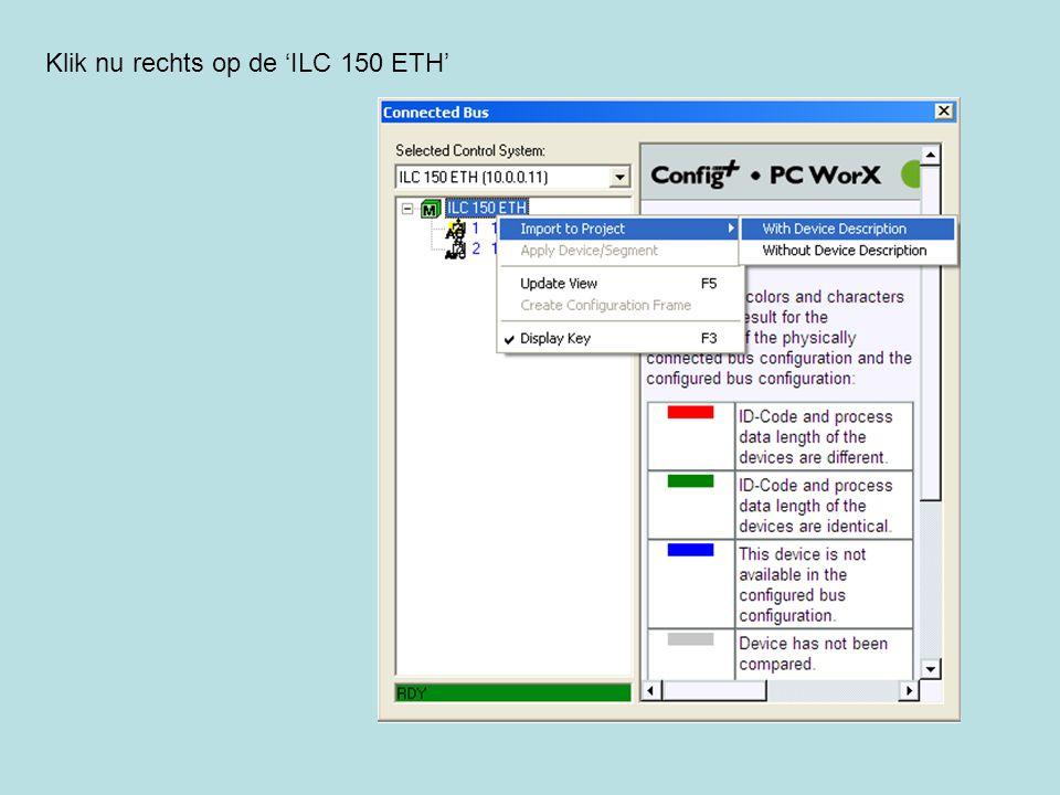 Klik nu rechts op de 'ILC 150 ETH'