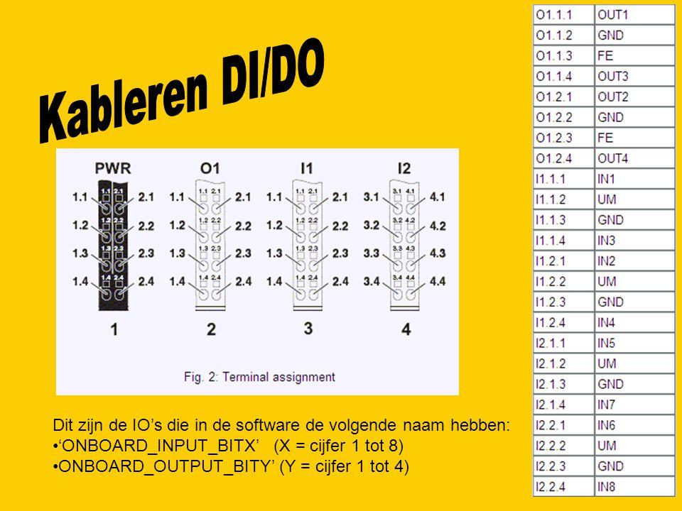 Dit zijn de IO's die in de software de volgende naam hebben: 'ONBOARD_INPUT_BITX' (X = cijfer 1 tot 8) ONBOARD_OUTPUT_BITY' (Y = cijfer 1 tot 4)