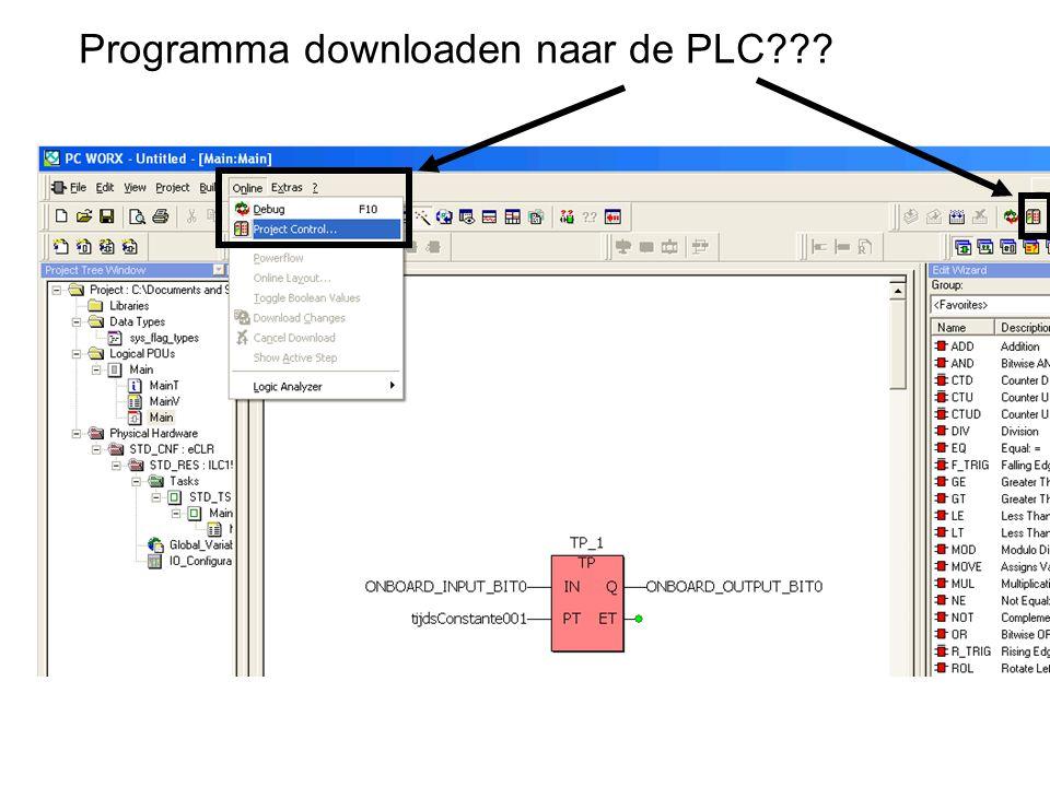 Programma downloaden naar de PLC???