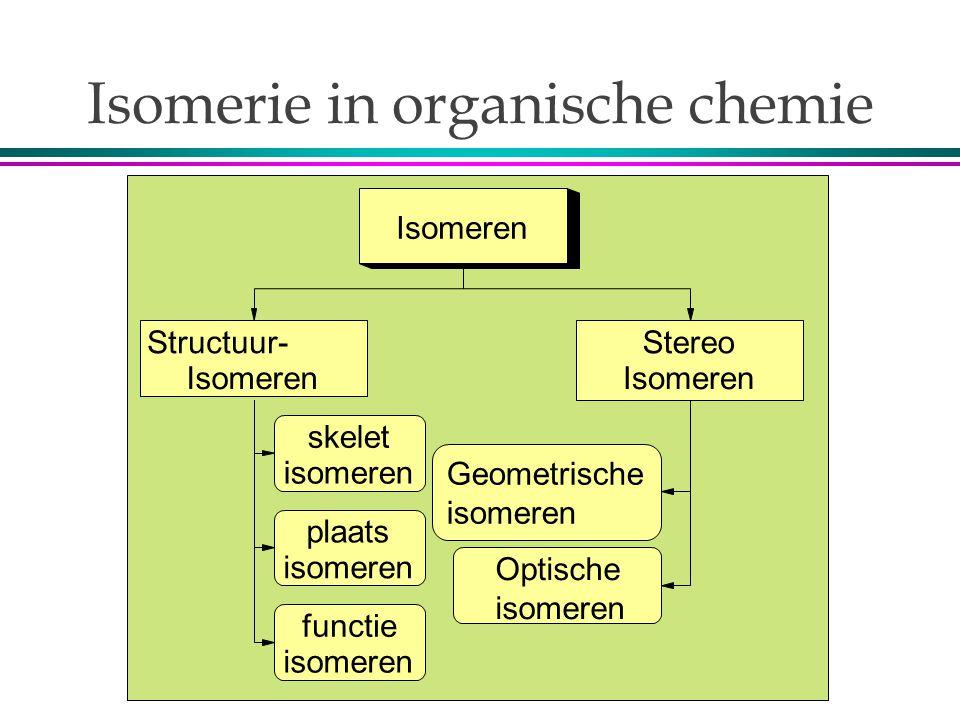 Isomerie in organische chemie Isomeren Structuur- Isomeren Stereo Isomeren skelet isomeren plaats isomeren functie isomeren Optische isomeren Geometrische isomeren