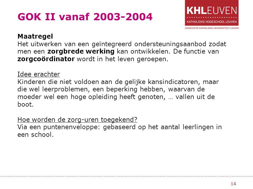 GOK II vanaf 2003-2004 15 Wat is het verschil tussen GOK- en zorguren.