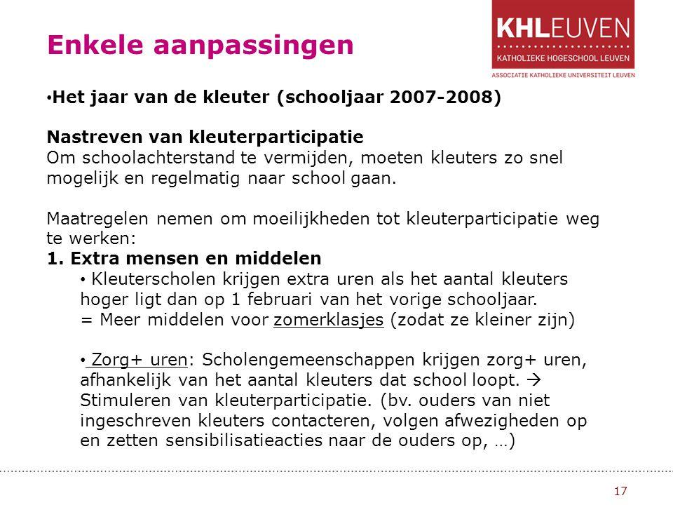 Enkele aanpassingen 18 GOK+ uren: Scholen met veel kansarme kleuters (min 40%) krijgen GOK+uren.