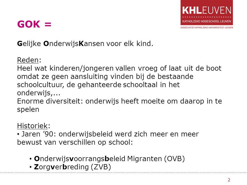 GOK: Gelijke onderwijskansen 3 Beide initiatieven bleken weinig aan de ongelijke situaties in het onderwijs te verhelpen: Redenen: Enorme planlast voor de scholen: beide maatregelen (middelen + ondersteuning) ieder jaar opnieuw aanvragen en verantwoorden.