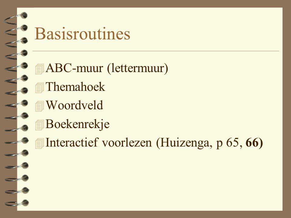 Basisroutines 4 ABC-muur (lettermuur) 4 Themahoek 4 Woordveld 4 Boekenrekje 4 Interactief voorlezen (Huizenga, p 65, 66)