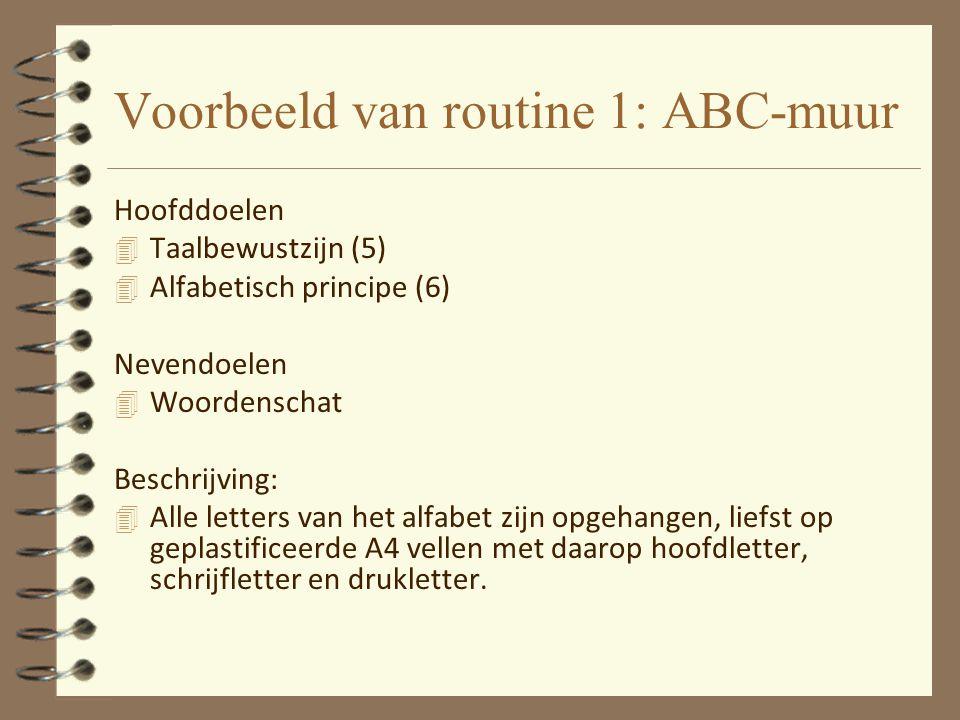 Voorbeeld van routine 1: ABC-muur Hoofddoelen 4 Taalbewustzijn (5) 4 Alfabetisch principe (6) Nevendoelen 4 Woordenschat Beschrijving: 4 Alle letters
